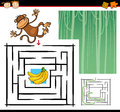 Cartoon maze or labyrinth game illustration of education for preschool children with funny monkey wild animal Stock Images