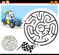 Cartoon maze or labyrinth game illustration of education for preschool children with funny racing car character Royalty Free Stock Photography