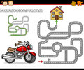 Cartoon maze or labyrinth game illustration of education for preschool children with motorbike and road to home Stock Photos