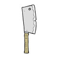 Cartoon meat cleaver hand drawn illustration in retro style vector available Stock Photography