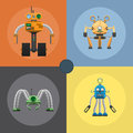 Cartoon Mechanical Steel Robots Illustrations Set