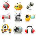 Cartoon media icons Stock Photography