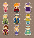 Cartoon Medieval beautiful girls stickers Stock Photos