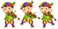Cartoon medieval character - jester with violin - isolated