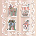 Cartoon medieval fairy tale houses stickers