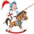 Cartoon medieval knight riding a horse Royalty Free Stock Photo