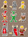 Cartoon medieval people stickers Stock Photography
