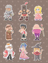 Cartoon medieval people stickers Royalty Free Stock Image