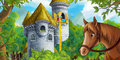 Cartoon medieval scene with tower and horse