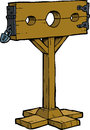 Cartoon medieval stocks doodle on a white background illustration Royalty Free Stock Photography