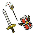 Cartoon medieval weapons Stock Images