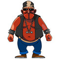 Cartoon menacing man, dressed in a biker with a chain around his neck Royalty Free Stock Photo