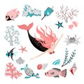 Cartoon mermaid surrounded by tropical fish, animal, seaweed and corals. Fairy tale character. Sea life.