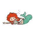 Cartoon mermaid with tattoos hand drawn illustration in retro style vector available Royalty Free Stock Image