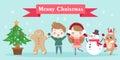 Cartoon with merry christmas