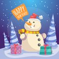 Cartoon Merry Christmas poster. Laughing snowman in Santa hat and scarf with gift boxes in forest.