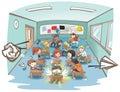 Cartoon messy school classroom full of naughty kid student