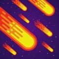 Cartoon meteor rain. Comets falling down. Vector meteorite