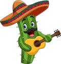 Cartoon Mexican Cactus playing guitar
