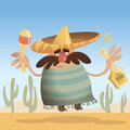 Cartoon mexican man with sombrero holding a bottle and maracas while jumping Stock Photography