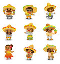 Cartoon Mexican people icon set Stock Photos