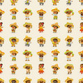 Cartoon Mexican people-seamless pattern Stock Photo