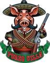 Cartoon mexican pig bandit holding gun Royalty Free Stock Photo