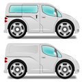 Cartoon minibus and delivery van with big wheels Stock Image