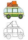 Cartoon minivan coloring page with minibus on a white background vector Royalty Free Stock Image