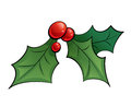 Cartoon mistletoe shinny decorative ornament with black outlines red and green Royalty Free Stock Image