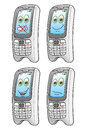 Cartoon mobile phone happy phones characters set vector illustration Royalty Free Stock Images
