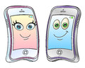 Cartoon mobile phones happy smart smartphone character vector illustration Stock Images
