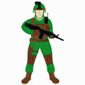 Cartoon modern soldier with gun isolated on white Royalty Free Stock Photo