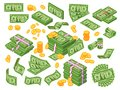 Cartoon money. Dollar bills banknotes stack, pile of dollars and banknote heap. Cash piles vector illustration set Royalty Free Stock Photo