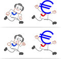 Cartoon money head businessman euro running away Royalty Free Stock Images