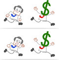 Cartoon money head businessman running dollar away Royalty Free Stock Photography