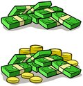 Cartoon money stack piles of cash and coins Royalty Free Stock Photo