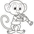 Cartoon monkey playing clarinet black white Stock Photography