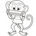 Cartoon monkey playing harmonica black white Stock Image