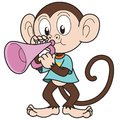 Cartoon monkey playing trumpet vector Stock Photo