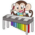 Cartoon monkey playing vibraphone Royalty Free Stock Photo