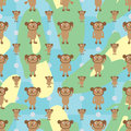Cartoon monkey symmetry banana seamless pattern