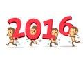 Cartoon monkeys happy new year 2016 Royalty Free Stock Photo