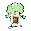 Cartoon monster brocolli retro with texture isolated on white Stock Photos