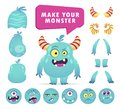 Cartoon monster creation kit, cute face set Royalty Free Stock Photo