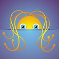 Cartoon monster cute hidden on a blue background vector illustration Royalty Free Stock Image