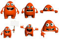 Cartoon monster d cute red Stock Photos