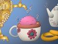 Cartoon monster drying tea cup samovar khokhloma teapot
