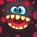 Cartoon monster face. Vector Halloween black monster avatar with wide smile.