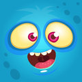 Cartoon monster face. Vector Halloween blue monster avatar.